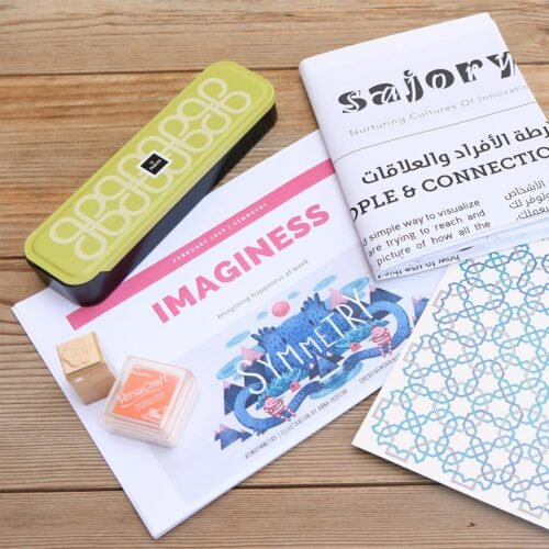Selection of various items, including a puzzle, a pamphlet, and a notepad.