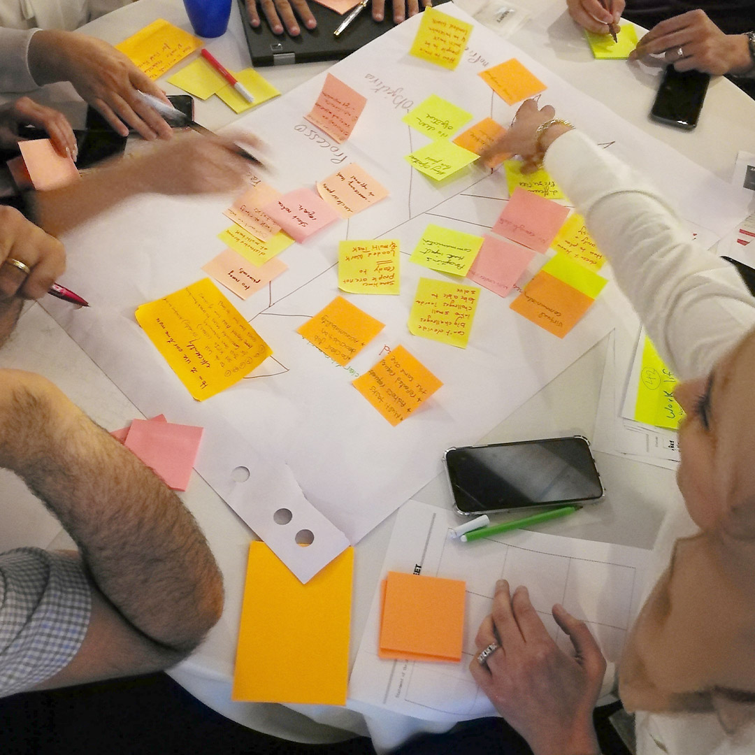 A group of people using post-it notes around a table.